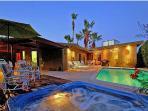 pool, spa, back of house