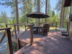 Wrap-around deck (of cabin) is a peaceful spot to soak in the beauty of nature!