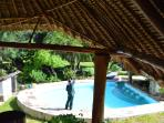 Daily pool cleaning. (view to the pool from the 1 floor). The pool has 4 seats inside