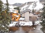Fall/winter view toward the ski mountain and Vail Village areas.