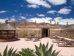 Villa private terrace and sun loungers