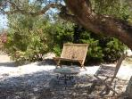 Seating under the olive trees