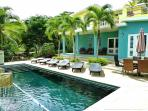 Our beautiful pool deck is the center of activity at Casa Tolteca!
