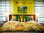 Green Acres Bedroom with premium King Size Bed, linens and pillows
