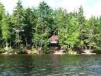 View of Cozy cabin from Lake