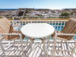 Enjoy dinner or drinks on the balcony with seating for up to six