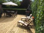 The new decked area is just perfect for outdoor eating an relaxing in a lovely sun trap