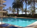 THE LARGEST POOL (The beach is behind the palms) / LA PISCINA GRANDE (La playa, tras las palmeras)