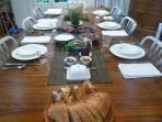 Table laid ready to serve breakfast