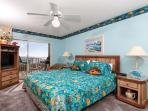 A king sized bed in this 'under the sea' themed master bedroom