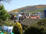 Views from communal garden over Royal Holyrood Park and UNESCO World Heritage site