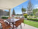 Patio overlooking garden and marine parkland - great for small children