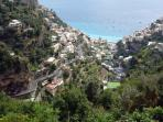 Positano seen from a walking path above the town.