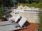 Sunbeds, terrace, jacuzzi