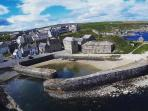 An aerial view of Portsoy Harbour