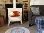 The wood burning stove in Coach House