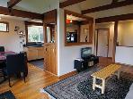 Hummingbird House, Livingroom with Woodstove, Near Wineries