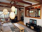 Hummingbird House, Living Room with Comfy Couch and TV