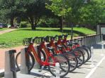 Public bicycles are available just around the corner.