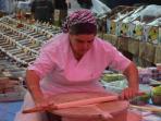 Making pancakes (Gözleme) in Kalkan Market - every Thursday
