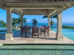 Silent Waters Villa dining gazebo and pool with view of Montego Bay