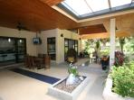 Covered patio with sitting areas
