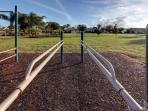 Climbing bars in the play area