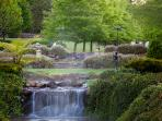 Morning mist coming off the waterfall and cascading down to the ponds in the gardens at Glenloch.