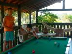 we offer pool billard, table soccer, dart and childrens playgroung