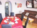 living / dining room, balcony, sofa-bed