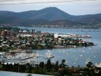 Beautiful Derwent River overlooking the Royal Yacht Club Marina, Tasman Bridge & Wrest Point Casino