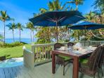 Wailea Sunset Bungalow - Ocean Front Patio with BBQ, Outdoor Dining & Lounging and Hot Tub. We also supply beach toys