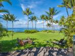 Wailea Sunset Bungalow - Sprawling Grass Yard Meets The Sea at Wailea Sunset Bungalow. A grey sand pebbly beach fronts