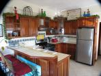 Fully equipped kitchen in Belizean hardwoods with stainless steel appliances.