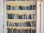 hall library with over 100 classic novels from yesteryear