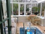 The conservatory overlooks the garde