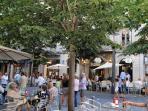 City centre of Mataró, many shops, bars, restaurants.