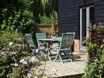 The bbq and decking area