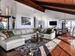 Living room with comfortable seating, TV and fireplace