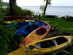 Boat use, Kayaks, Canoe, Rowboat, Paddleboat, Oars,  Paddles and lifejackets.