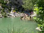 Rope swings, swimming  and cannoeing in the gorges at Vingrau