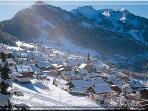 Chatel village views of Tete du Linga, La Leche powder bowl and Linga ski slopes.