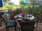 Alfresco dining under the covered terrace