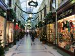Shopping in Norwich - the Royal Arcade at Christmas time.