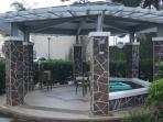 The gazebo near the pool