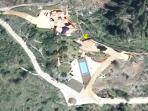 Overview of the property with pool area and both houses