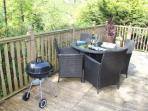 private deck area with BQ
