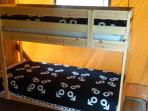 Second bedroom with a bunkbed. There is room for an extra bed or babybed.