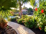 ...walking the new paver pathway leads to an inviting tropical backyard setting.