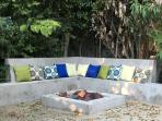 This outdoor gas fire pit makes a great place to relax with friends and/or family.